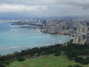 Vista de Honolulu desde el Diamond Head, Hawaii.