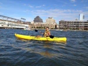 Andando de caiaque de graça no Rio Hudson, NYC.