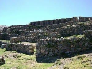 Inca Ruins at Isla del Sol, Lake Titicaca.