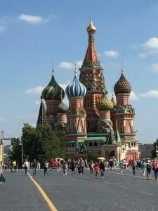 Catedral de São Basílio vista da Praça Vermelha, Moscou, Russia.