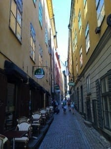 Ruas estreitas do Gamla Stan, Estocolmo.