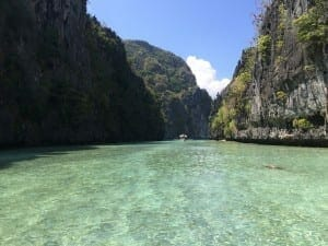 Emerald crystal-clear water at Big Lagoon, the Philippines.