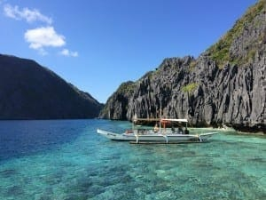 Banka parked at Matinloc Island, El Nido: one of the most beautiful places in the world