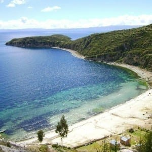 Crystal-clear blue water at Isla del Sol, Lake Titicaca.