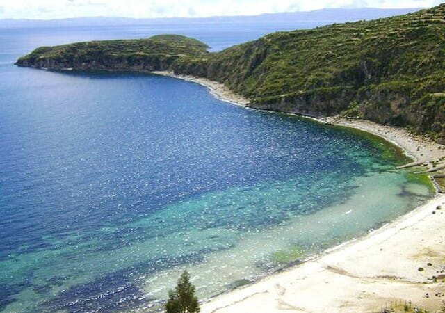 Crystal-clear blue water at Isla del Sol, Lake Titicaca, Bolivia, 2011