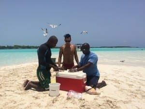 Our staff preparing the conch salad.