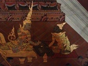Detail of a wall panel at Wat Phanan Choeng