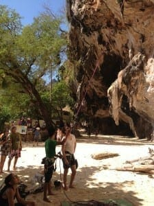 Rock climbing in Railay Beach .