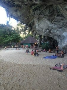 Rock climbers in Railay Beach.