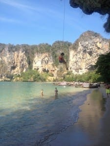 Rock climbing in Railay Beach.