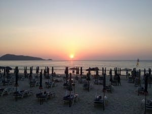 Sunset in Patong Beach, Thailand.