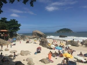 The clothing optional area in Abricó is located after this big rock.