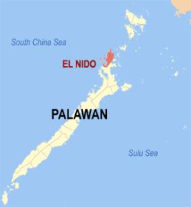 Mapa de Palawan, Filipinas.