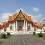 Beautiful Thai architecture at The marble temple, Bangkok, Thailand.