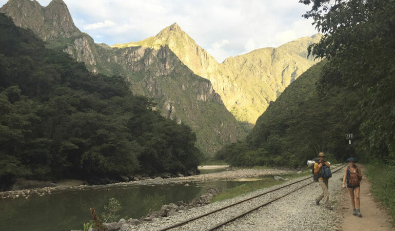 Walk on the trains to Machu Picchu is a smart way to save money and enjoy the breathtaking landscape of the Peruvian countryside.