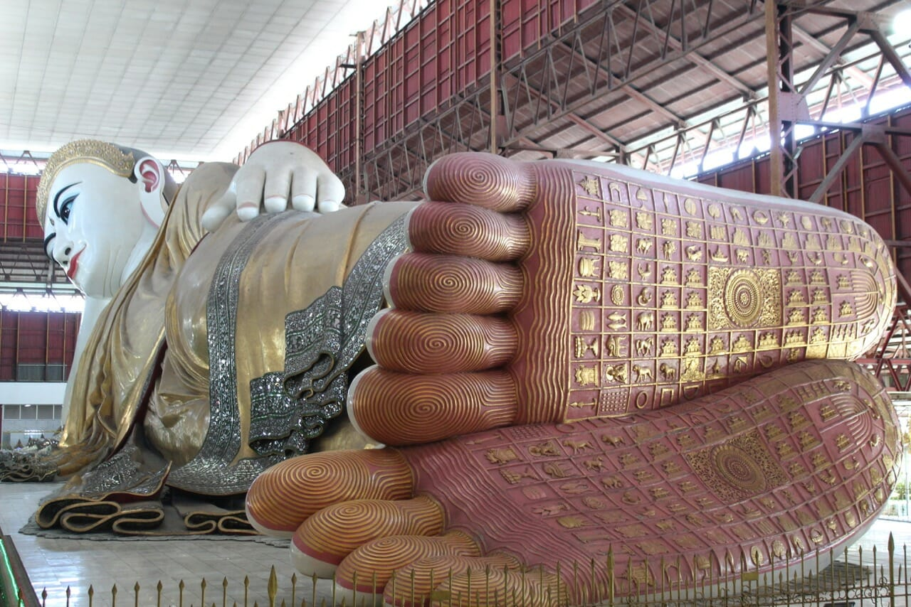 The 108 marks on the sole of the Buddha