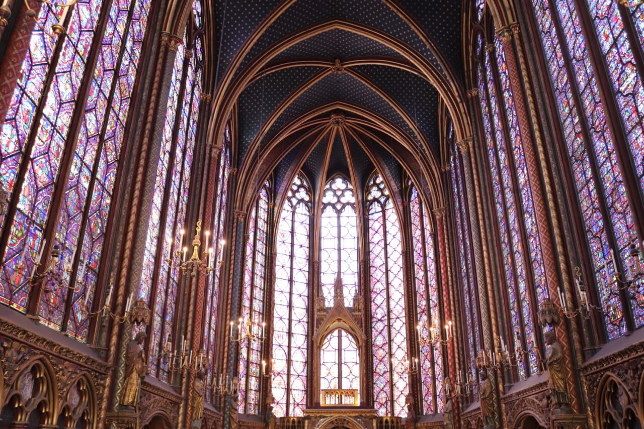 The upper level of Sainte-Chapelle, the summit of Rayonnant Gothic (1250)