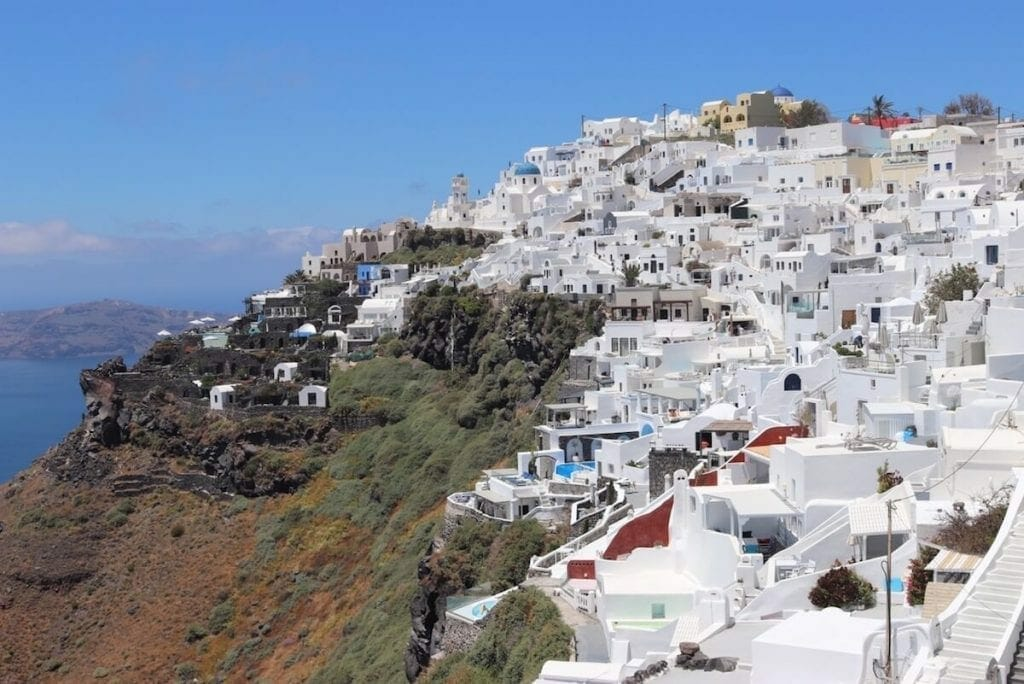 The beautiful village of Imerovigli, Santorini, Greece.