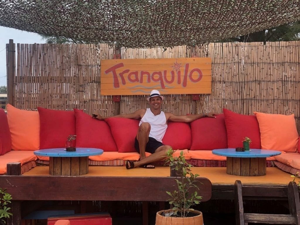 Tranquilo, one of the coolest beach bars in Santorini