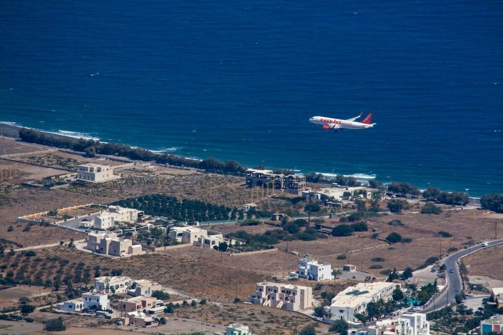 Airplane landing at Santorini airport