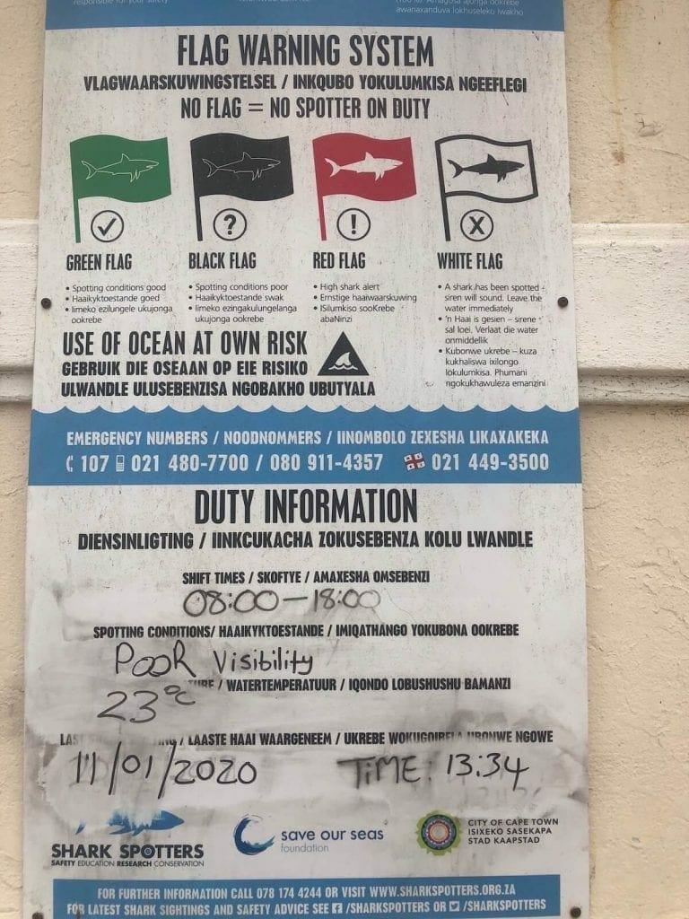 Sistema de sinalização com bandeiras para indicar a presença de tubarões.