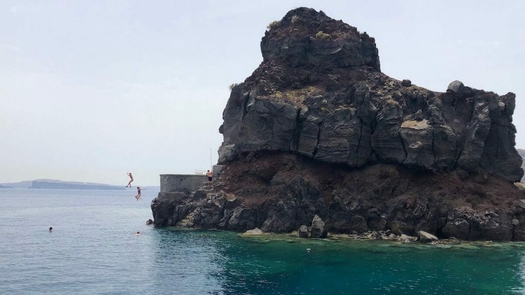 Ammoudi Bay cliff jumping, Santorini