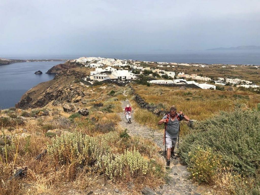 Trilha em Santorini