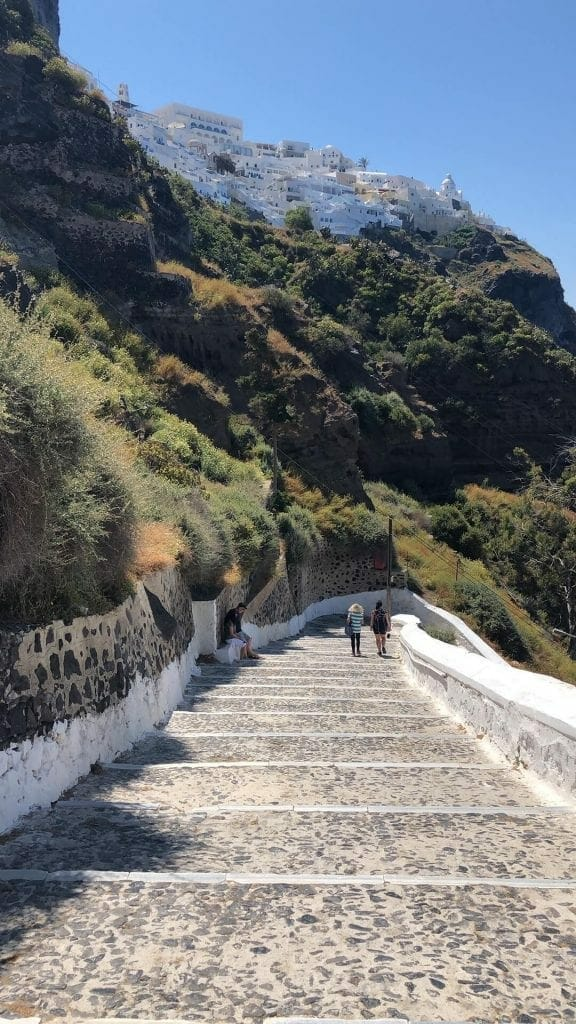 Taking the 587 steps down to Santorini old port