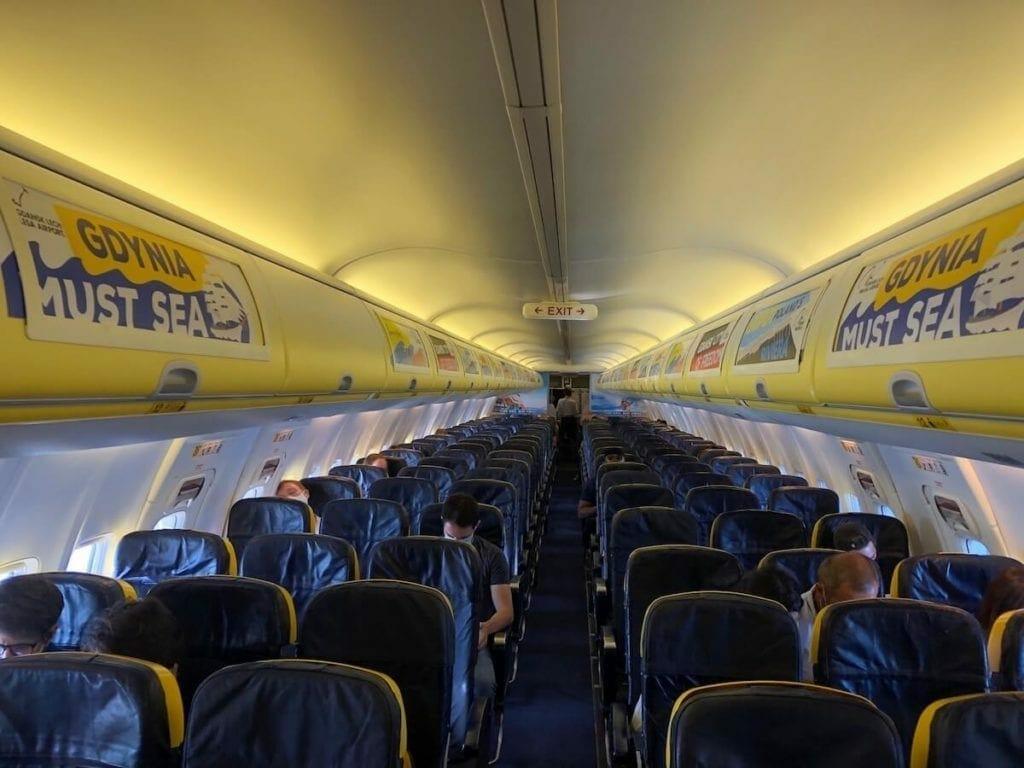 Ryanair flight during the coronavirus pandemic